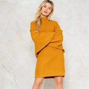 Nasty Gal   Oversized 70s Yellow Sweater Dress